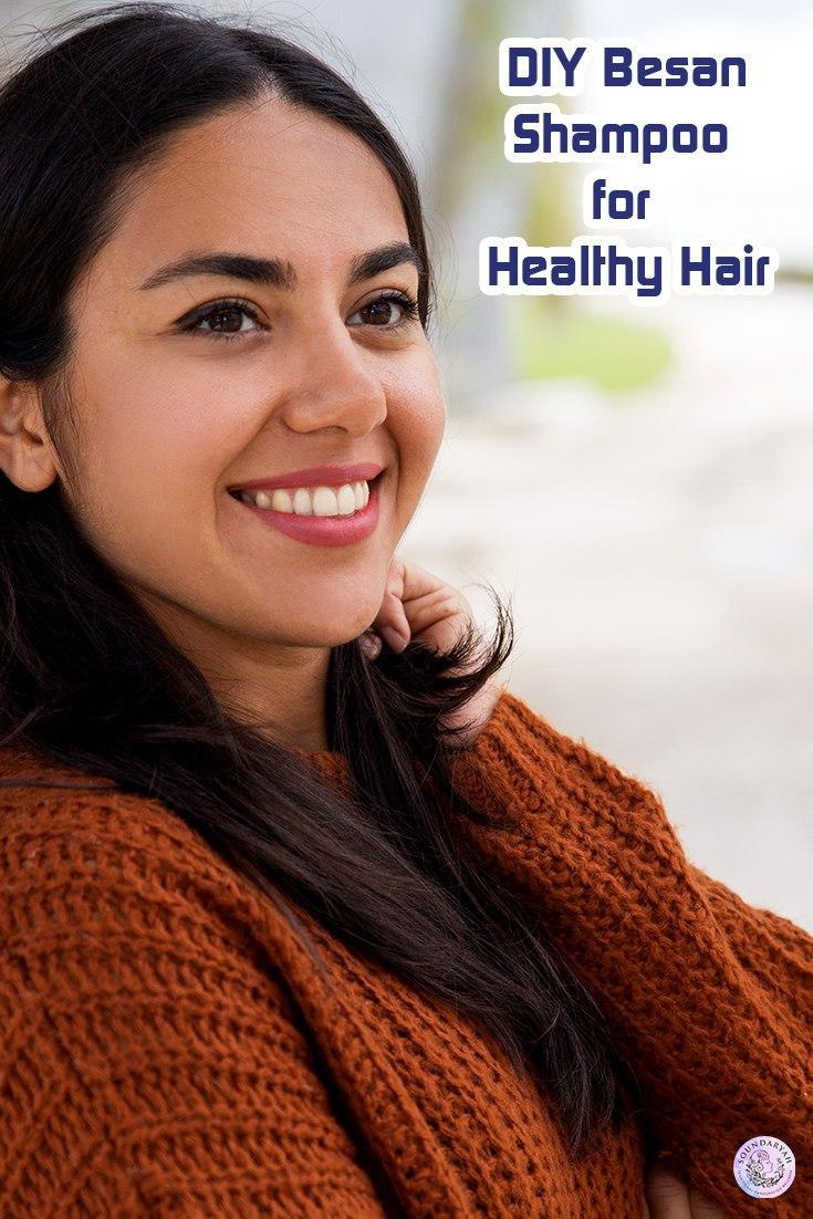 Tired of unending hair problems? Ditch the chemical products and try out this DIY Besan (Chickpea/Gram Flour) Shampoo for healthy hair.